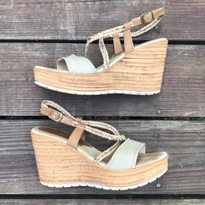 Sbicca Tan Wedge Sandals 👡
